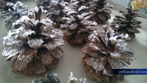 DIY sparkly and glittery pinecones from outside